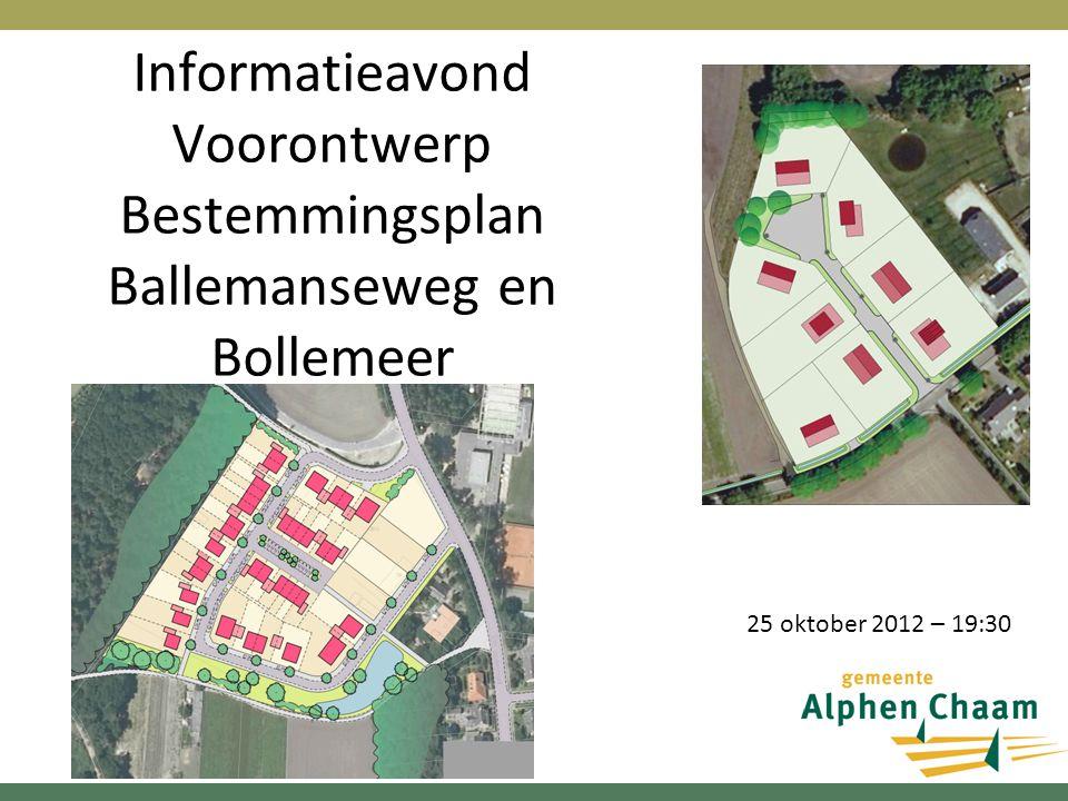 Informatieavond Voorontwerp Bestemmingsplan Ballemanseweg en Bollemeer 25 oktober 2012 – 19:30