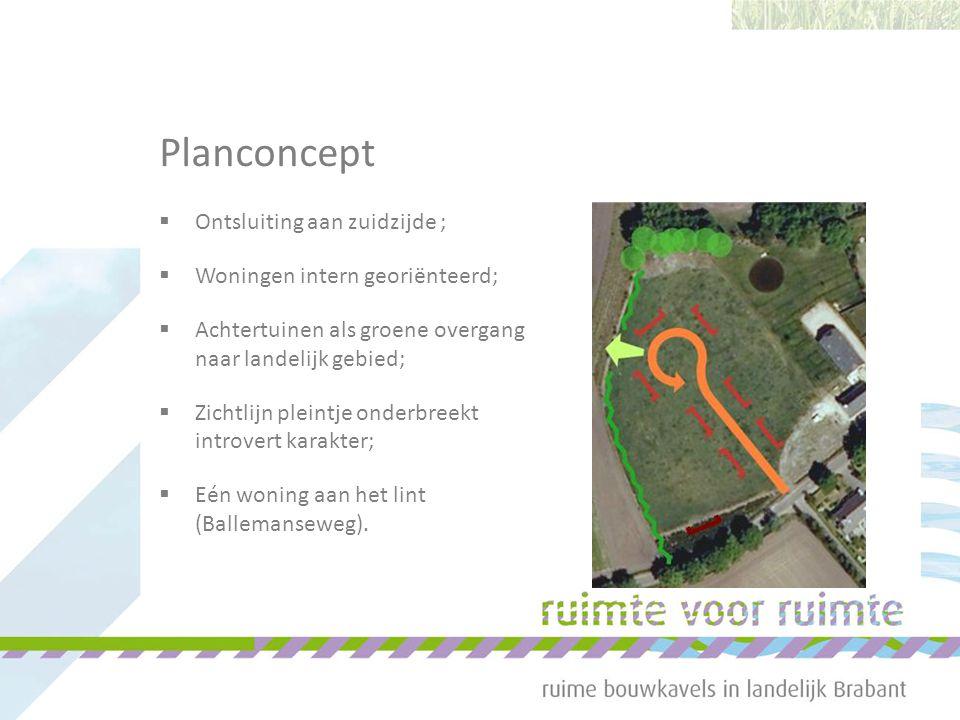 Planconcept  Ontsluiting aan zuidzijde ;  Woningen intern georiënteerd;  Achtertuinen als groene overgang naar landelijk gebied;  Zichtlijn pleintje onderbreekt introvert karakter;  Eén woning aan het lint (Ballemanseweg).