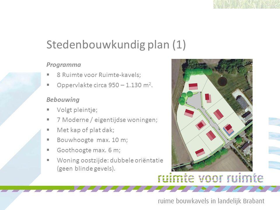 Stedenbouwkundig plan (1) Programma  8 Ruimte voor Ruimte-kavels;  Oppervlakte circa 950 – 1.130 m 2. Bebouwing  Volgt pleintje;  7 Moderne / eige