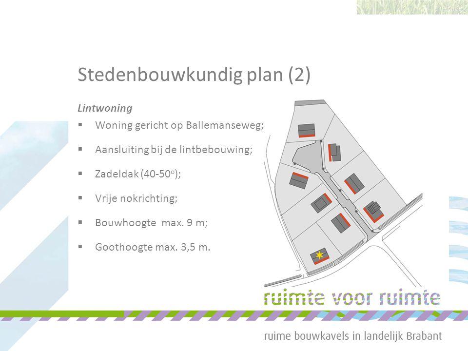 Stedenbouwkundig plan (2) Lintwoning  Woning gericht op Ballemanseweg;  Aansluiting bij de lintbebouwing;  Zadeldak (40-50 o );  Vrije nokrichting;  Bouwhoogte max.
