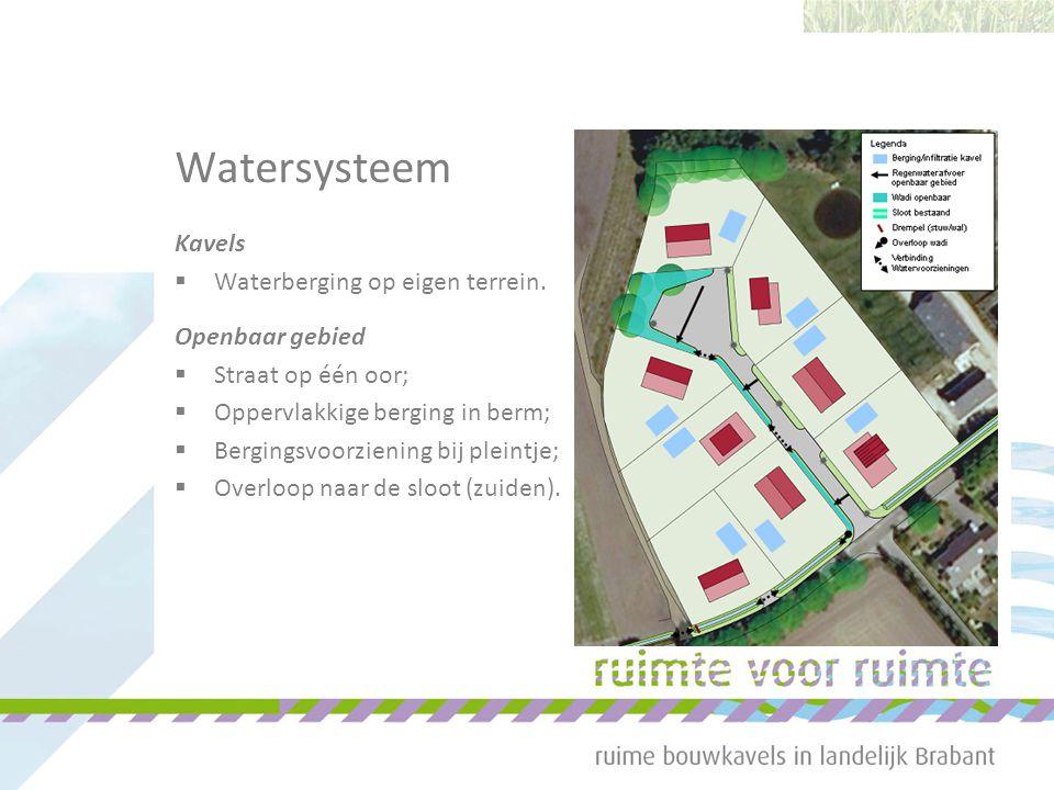 Watersysteem Kavels  Waterberging op eigen terrein. Openbaar gebied  Straat op één oor;  Oppervlakkige berging in berm;  Bergingsvoorziening bij p