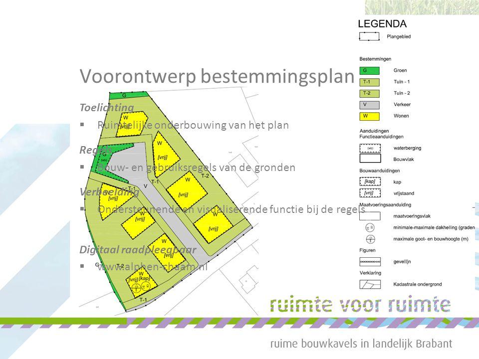 Voorontwerp bestemmingsplan Toelichting  Ruimtelijke onderbouwing van het plan Regels  Bouw- en gebruiksregels van de gronden Verbeelding  Ondersteunende en visualiserende functie bij de regels Digitaal raadpleegbaar  www.alphen-chaam.nl