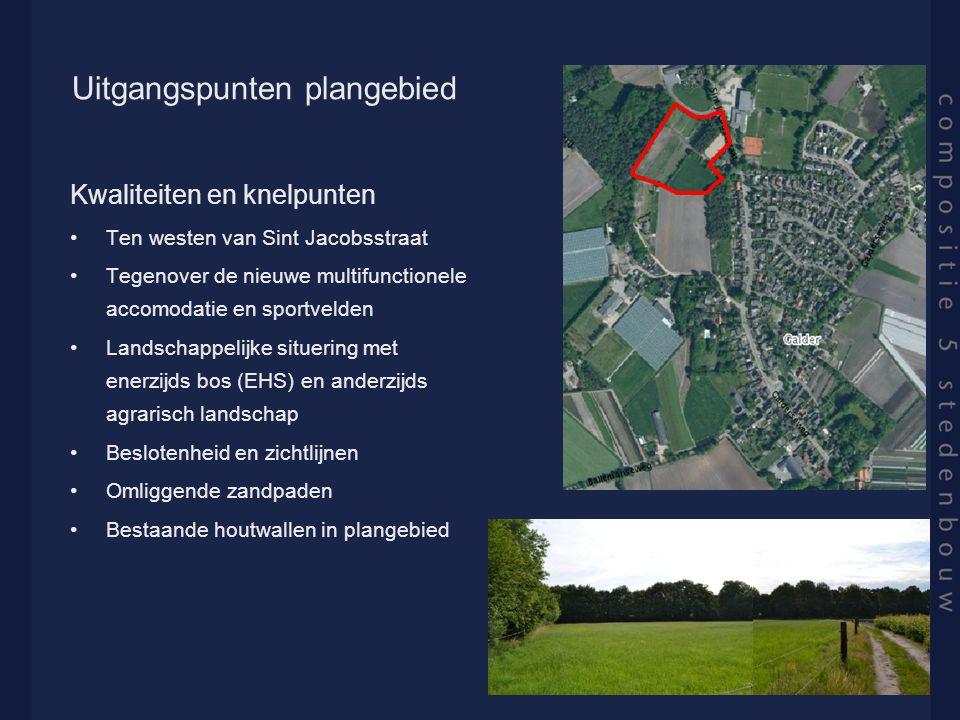Uitgangspunten plangebied Kwaliteiten en knelpunten Ten westen van Sint Jacobsstraat Tegenover de nieuwe multifunctionele accomodatie en sportvelden L