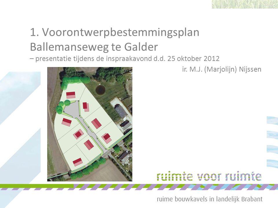 1. Voorontwerpbestemmingsplan Ballemanseweg te Galder – presentatie tijdens de inspraakavond d.d. 25 oktober 2012 ir. M.J. (Marjolijn) Nijssen