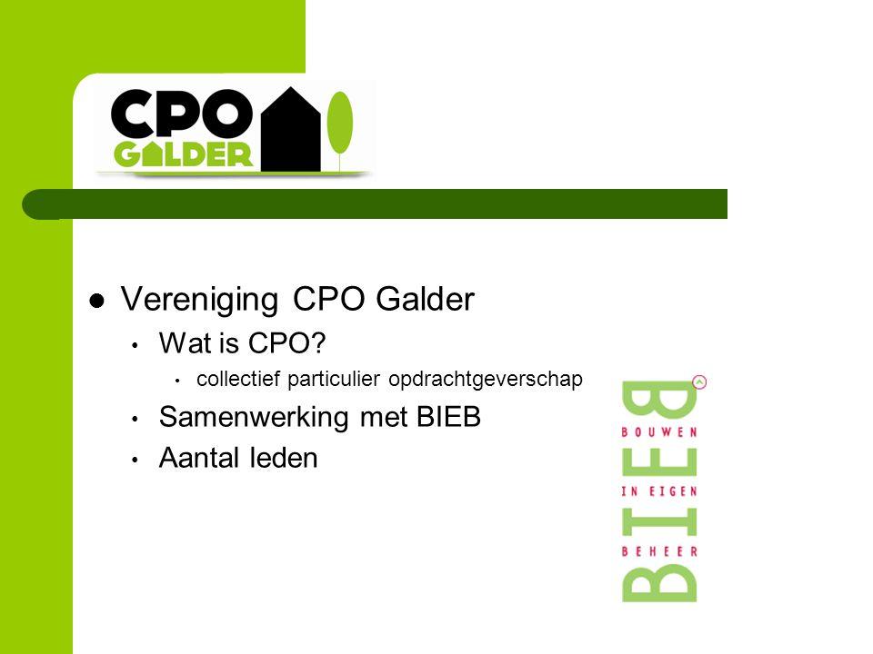 Vereniging CPO Galder Wat is CPO? collectief particulier opdrachtgeverschap Samenwerking met BIEB Aantal leden