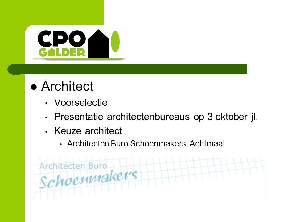 Architect Voorselectie Presentatie architectenbureaus op 3 oktober jl. Keuze architect Architecten Buro Schoenmakers, Achtmaal