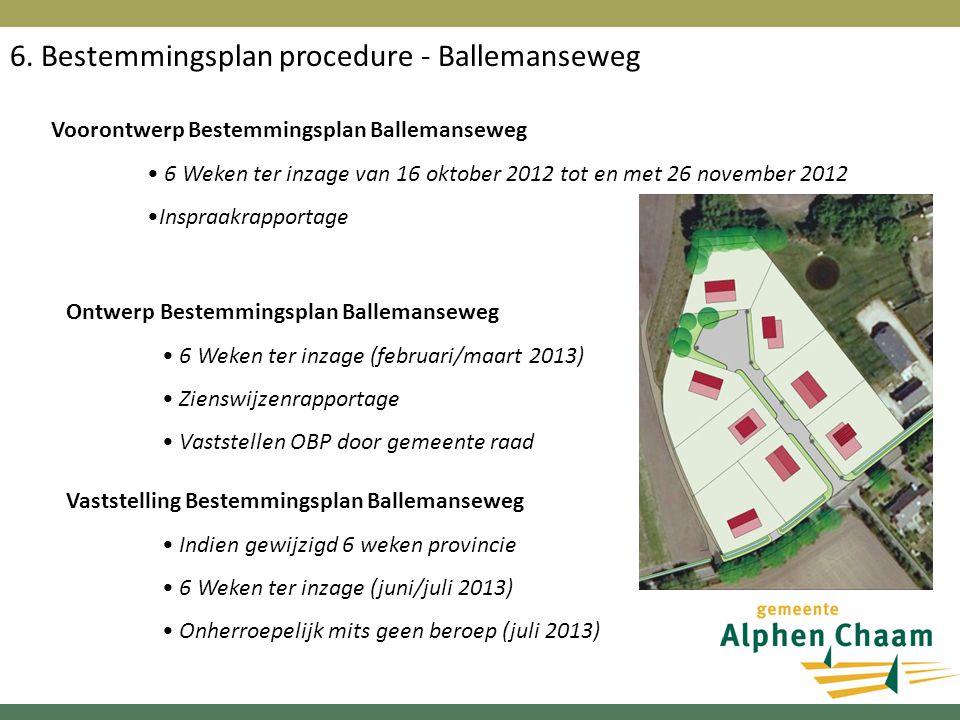 6. Bestemmingsplan procedure - Ballemanseweg Voorontwerp Bestemmingsplan Ballemanseweg 6 Weken ter inzage van 16 oktober 2012 tot en met 26 november 2