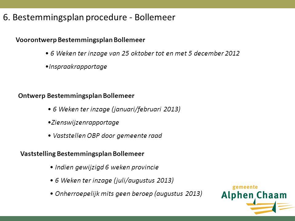 6. Bestemmingsplan procedure - Bollemeer Voorontwerp Bestemmingsplan Bollemeer 6 Weken ter inzage van 25 oktober tot en met 5 december 2012 Inspraakra