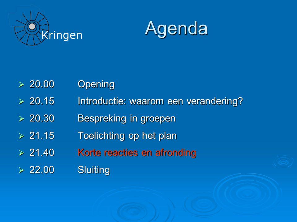 Agenda  20.00Opening  20.15Introductie: waarom een verandering.