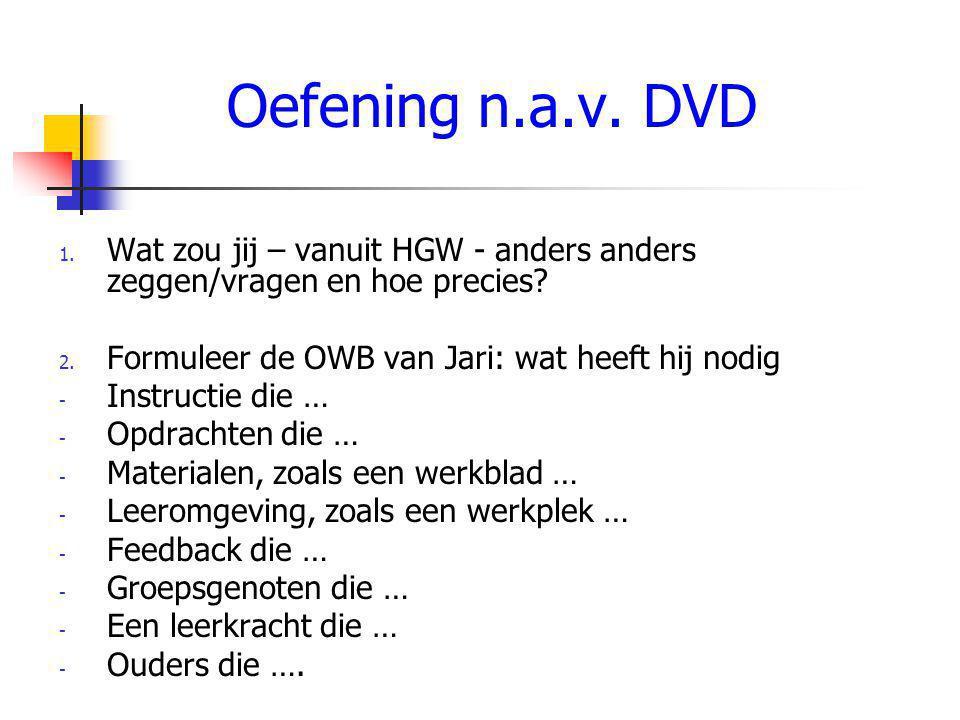 Oefening n.a.v.DVD 1. Wat zou jij – vanuit HGW - anders anders zeggen/vragen en hoe precies.