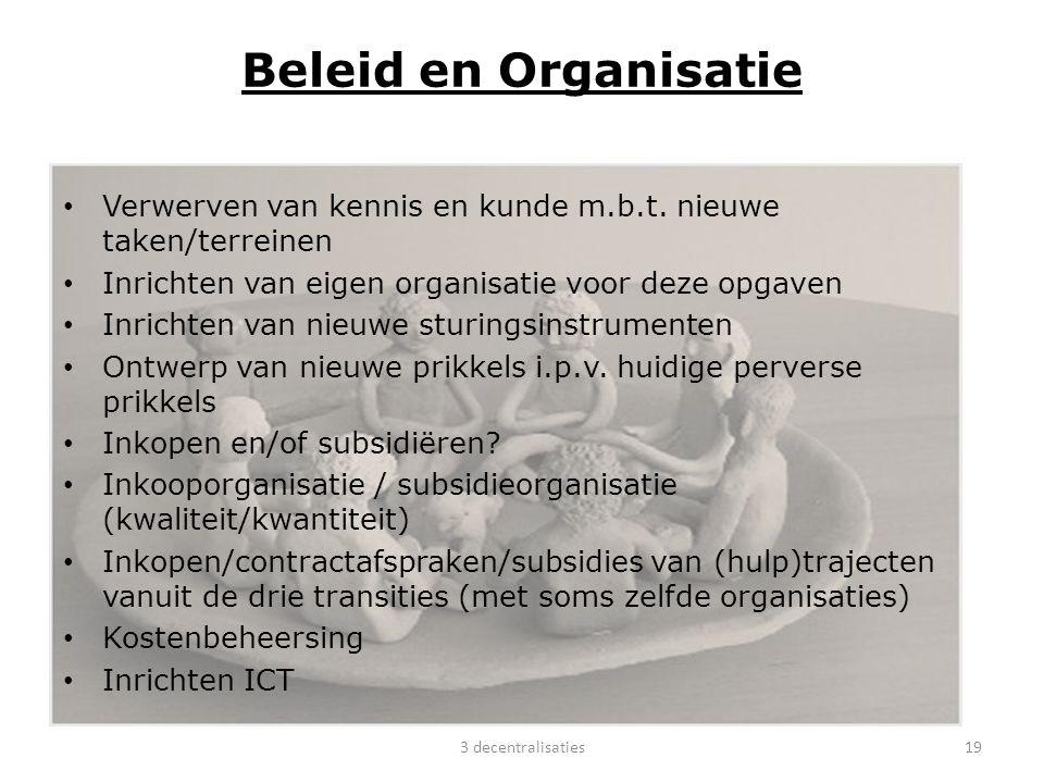 Beleid en Organisatie Verwerven van kennis en kunde m.b.t. nieuwe taken/terreinen Inrichten van eigen organisatie voor deze opgaven Inrichten van nieu