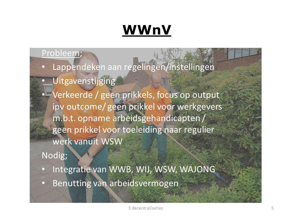 WWnV Probleem; Lappendeken aan regelingen/instellingen Uitgavenstijging Verkeerde / geen prikkels, focus op output ipv outcome/ geen prikkel voor werk