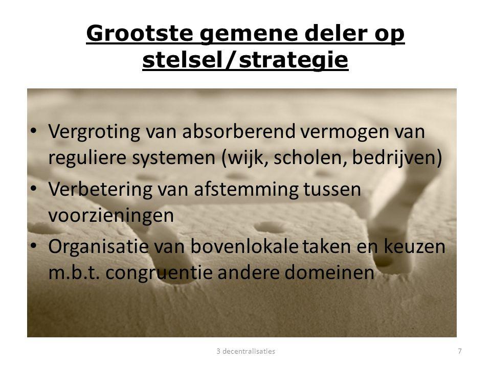 Grootste gemene deler op stelsel/strategie Vergroting van absorberend vermogen van reguliere systemen (wijk, scholen, bedrijven) Verbetering van afste