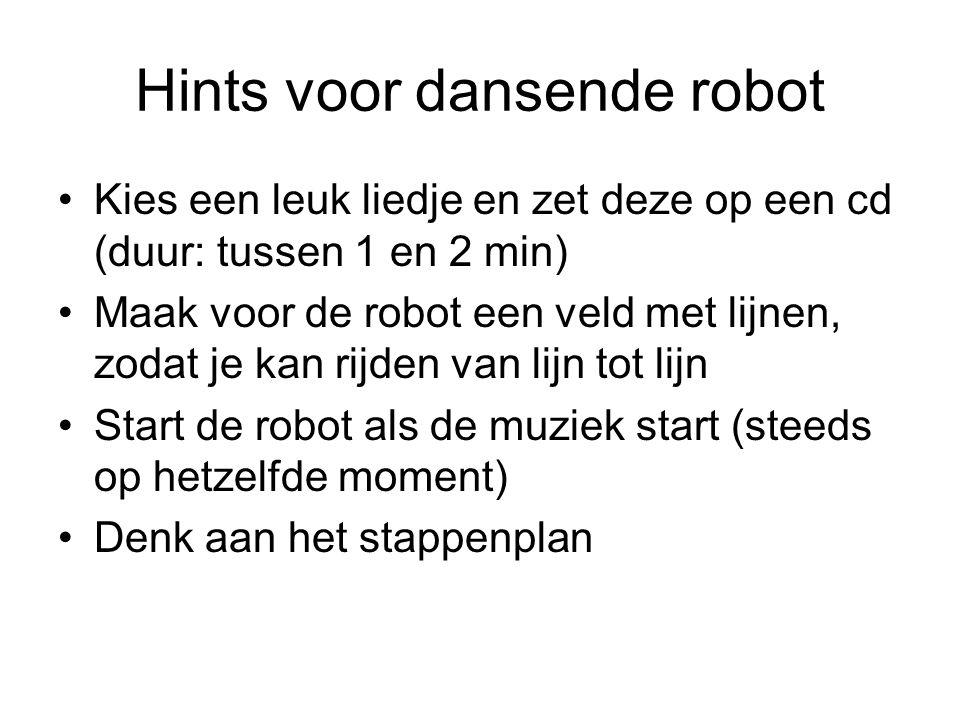 Hints voor dansende robot Kies een leuk liedje en zet deze op een cd (duur: tussen 1 en 2 min) Maak voor de robot een veld met lijnen, zodat je kan ri