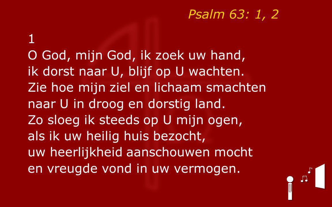Psalm 63: 1, 2 1 O God, mijn God, ik zoek uw hand, ik dorst naar U, blijf op U wachten.
