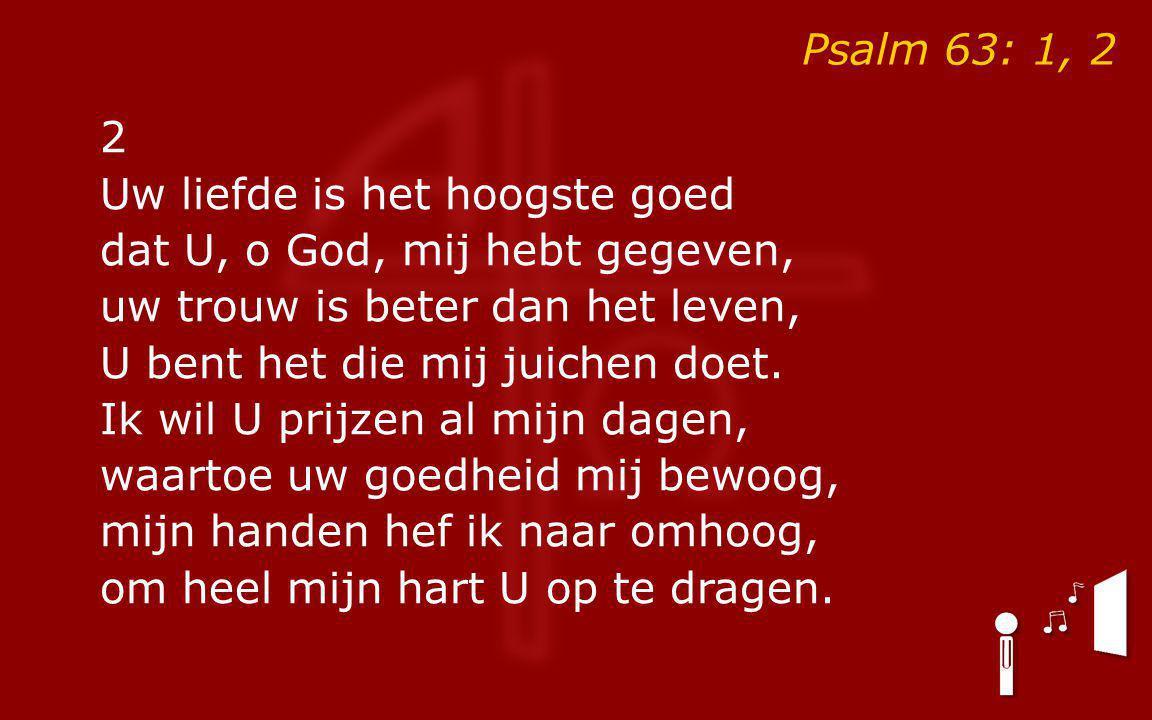 Psalm 63: 1, 2 2 Uw liefde is het hoogste goed dat U, o God, mij hebt gegeven, uw trouw is beter dan het leven, U bent het die mij juichen doet.