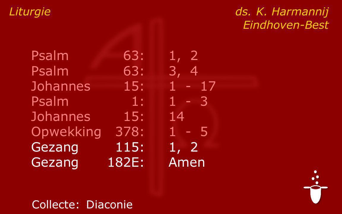 Psalm63:1, 2 Psalm63:3, 4 Johannes15:1 - 17 Psalm1:1 - 3 Johannes15:14 Opwekking378:1 - 5 Gezang115:1, 2 Gezang182E:Amen Liturgie ds.