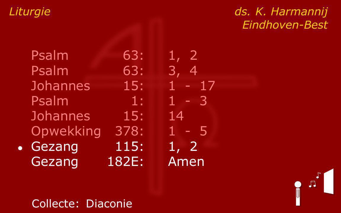Psalm63:1, 2 Psalm63:3, 4 Johannes15:1 - 17 Psalm1:1 - 3 Johannes15:14 Opwekking378:1 - 5 ● Gezang115:1, 2 Gezang182E:Amen Liturgie ds.