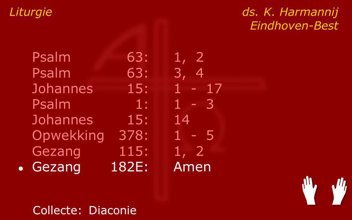 Psalm63:1, 2 Psalm63:3, 4 Johannes15:1 - 17 Psalm1:1 - 3 Johannes15:14 Opwekking378:1 - 5 Gezang115:1, 2 ● Gezang182E:Amen Liturgie ds.