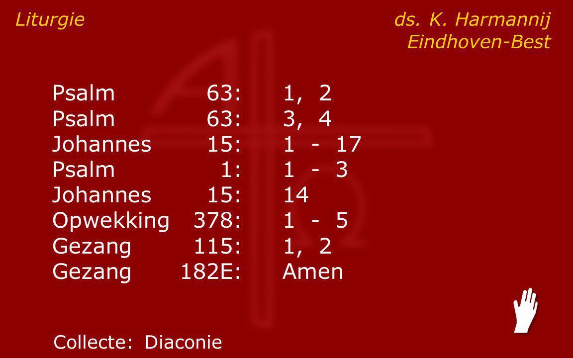 Psalm63:1, 2 Psalm63:3, 4 Johannes15:1 - 17 ● Psalm1:1 - 3 Johannes15:14 Opwekking378:1 - 5 Gezang115:1, 2 Gezang182E:Amen Liturgie ds.