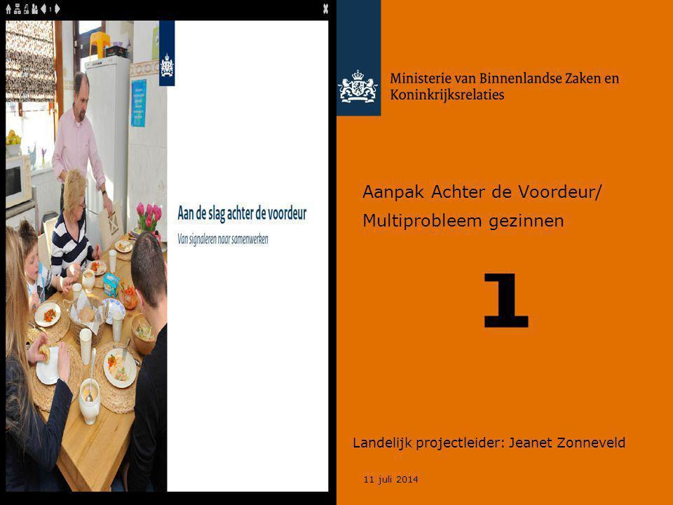 11 juli 2014 1 Landelijk projectleider: Jeanet Zonneveld Aanpak Achter de Voordeur/ Multiprobleem gezinnen