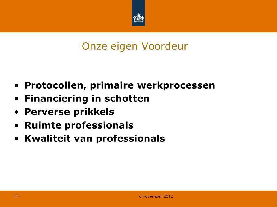 11 6 november 2012 Onze eigen Voordeur Protocollen, primaire werkprocessen Financiering in schotten Perverse prikkels Ruimte professionals Kwaliteit v