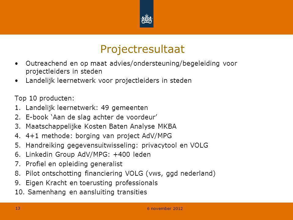 13 6 november 2012 Projectresultaat Outreachend en op maat advies/ondersteuning/begeleiding voor projectleiders in steden Landelijk leernetwerk voor p