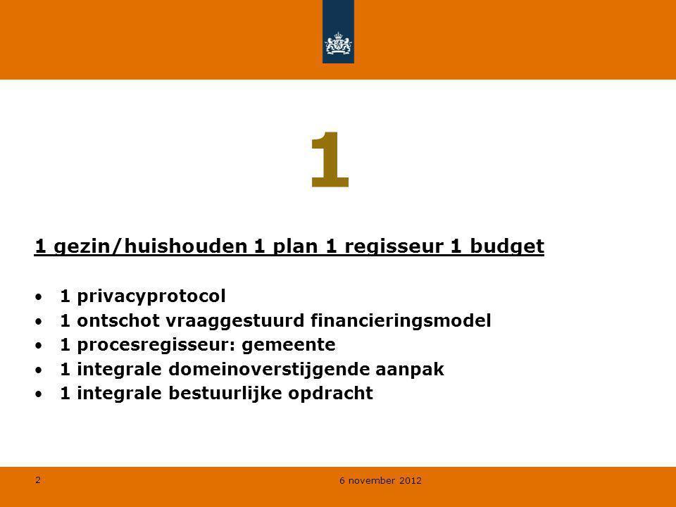 2 6 november 2012 1 1 gezin/huishouden 1 plan 1 regisseur 1 budget 1 privacyprotocol 1 ontschot vraaggestuurd financieringsmodel 1 procesregisseur: ge