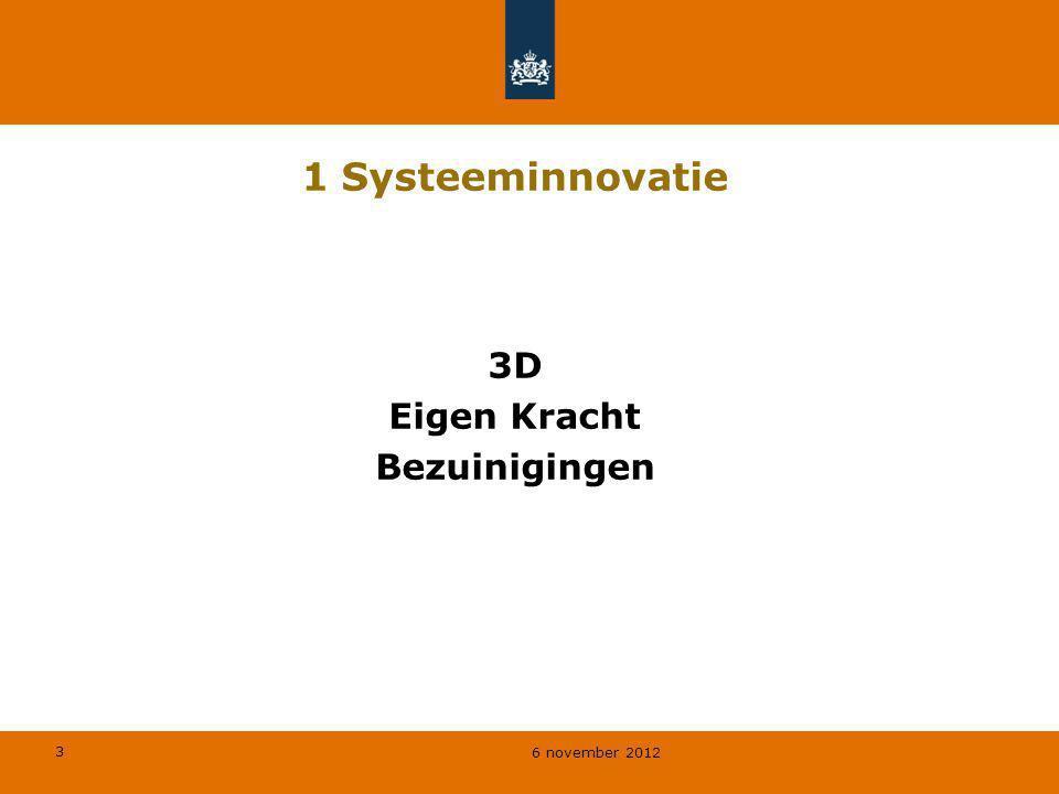 3 6 november 2012 1 Systeeminnovatie 3D Eigen Kracht Bezuinigingen