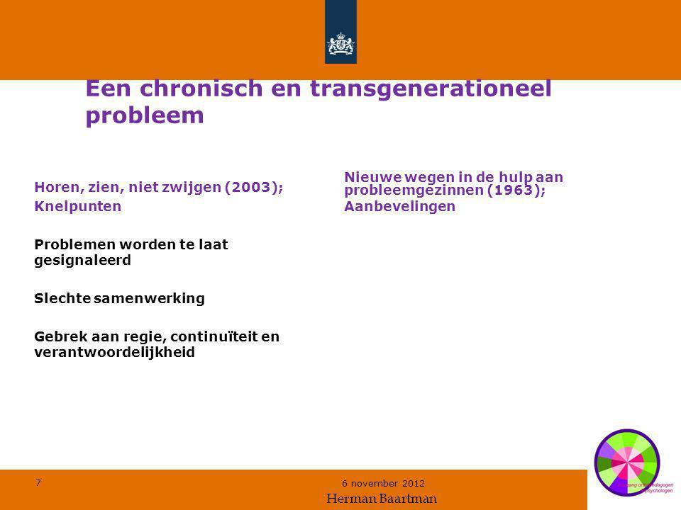 7 6 november 2012 Een chronisch en transgenerationeel probleem Horen, zien, niet zwijgen (2003); Knelpunten Problemen worden te laat gesignaleerd Slec