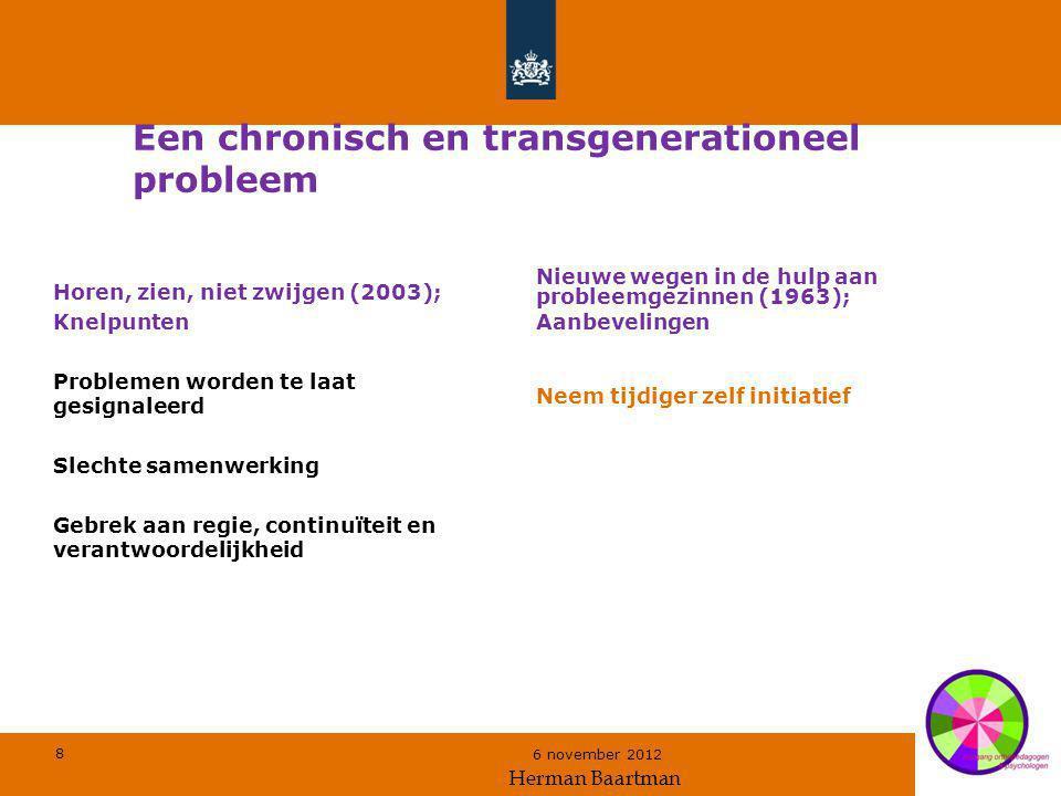8 6 november 2012 Een chronisch en transgenerationeel probleem Horen, zien, niet zwijgen (2003); Knelpunten Problemen worden te laat gesignaleerd Slec