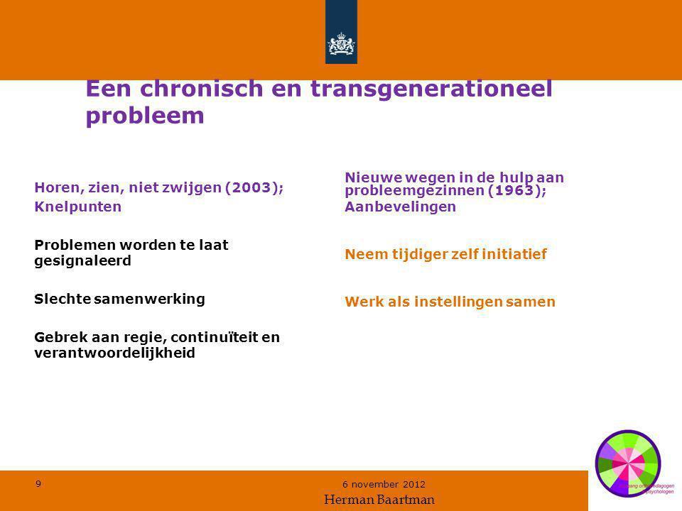 9 6 november 2012 Een chronisch en transgenerationeel probleem Horen, zien, niet zwijgen (2003); Knelpunten Problemen worden te laat gesignaleerd Slec