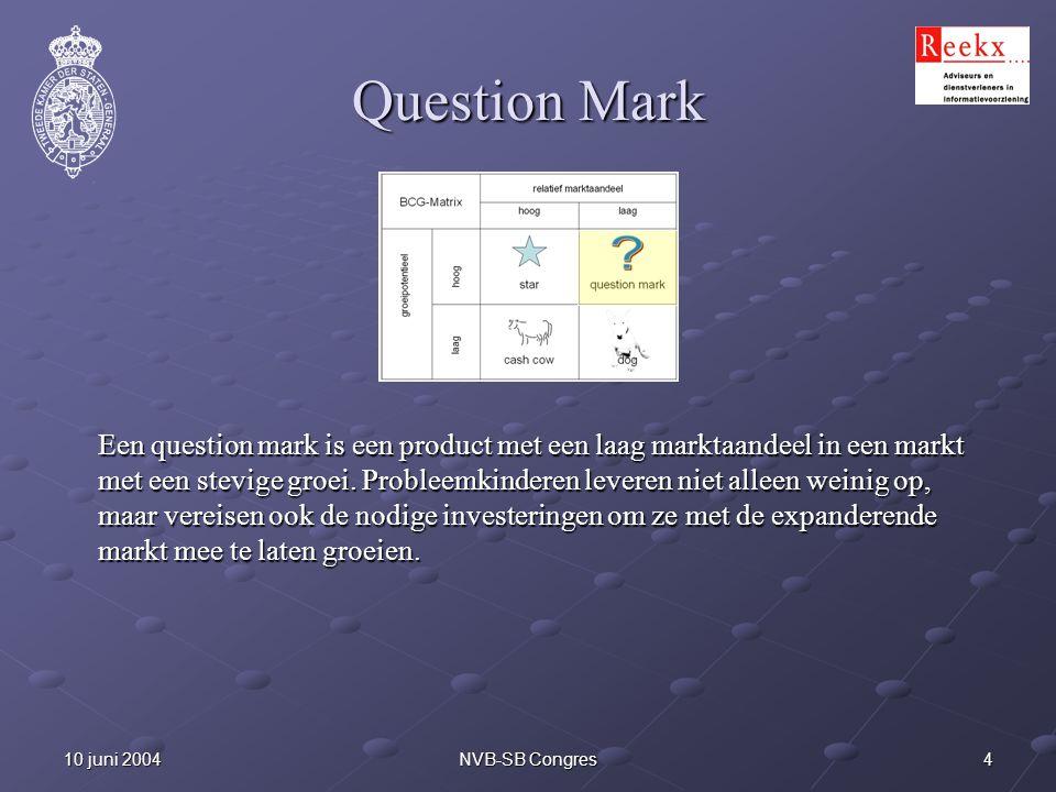 410 juni 2004NVB-SB Congres Question Mark Een question mark is een product met een laag marktaandeel in een markt met een stevige groei. Probleemkinde