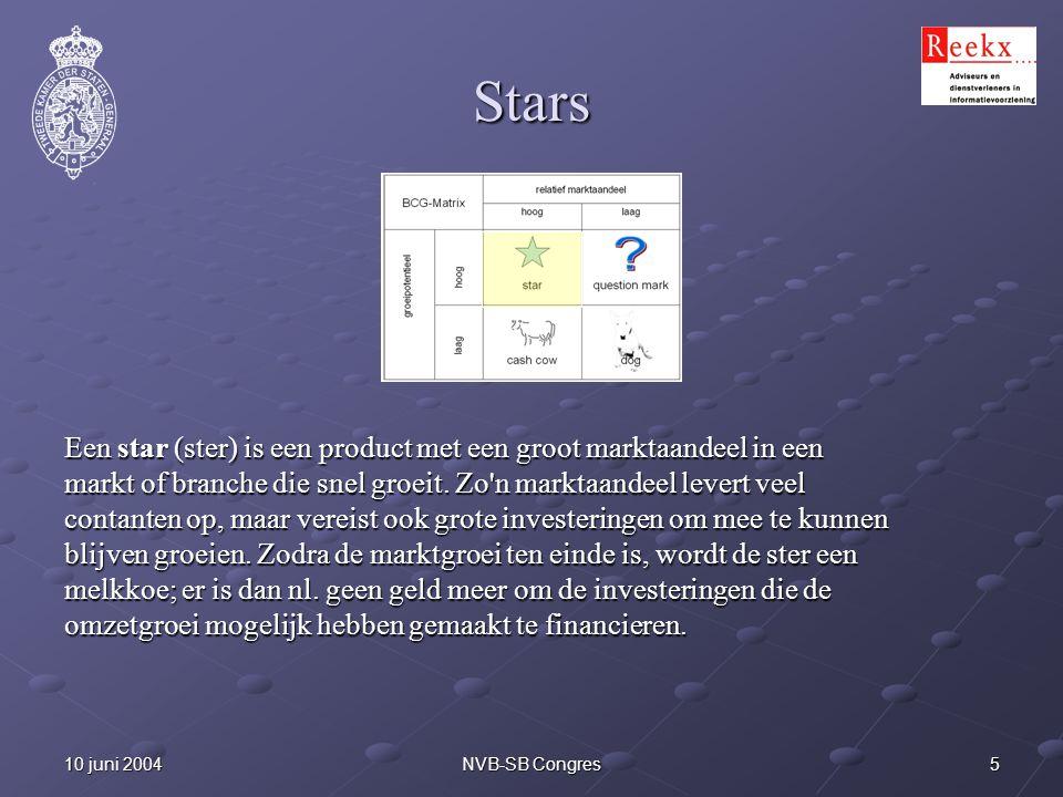 510 juni 2004NVB-SB Congres Stars Een star (ster) is een product met een groot marktaandeel in een markt of branche die snel groeit. Zo'n marktaandeel