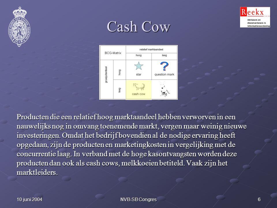 610 juni 2004NVB-SB Congres Cash Cow Producten die een relatief hoog marktaandeel hebben verworven in een nauwelijks nog in omvang toenemende markt, v