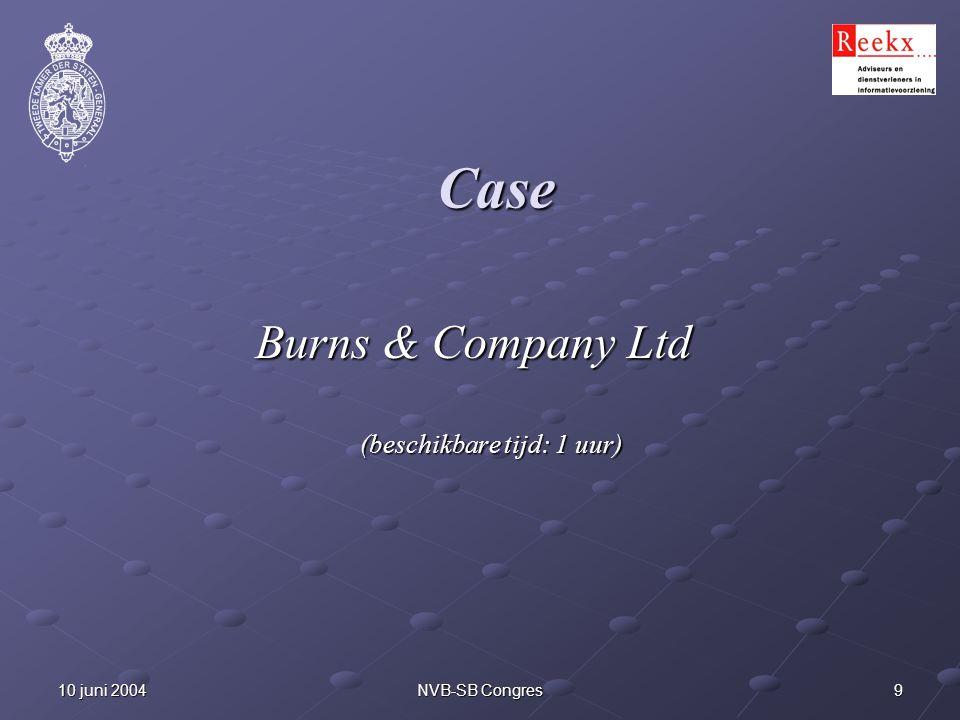910 juni 2004NVB-SB Congres Case Burns & Company Ltd (beschikbare tijd: 1 uur)