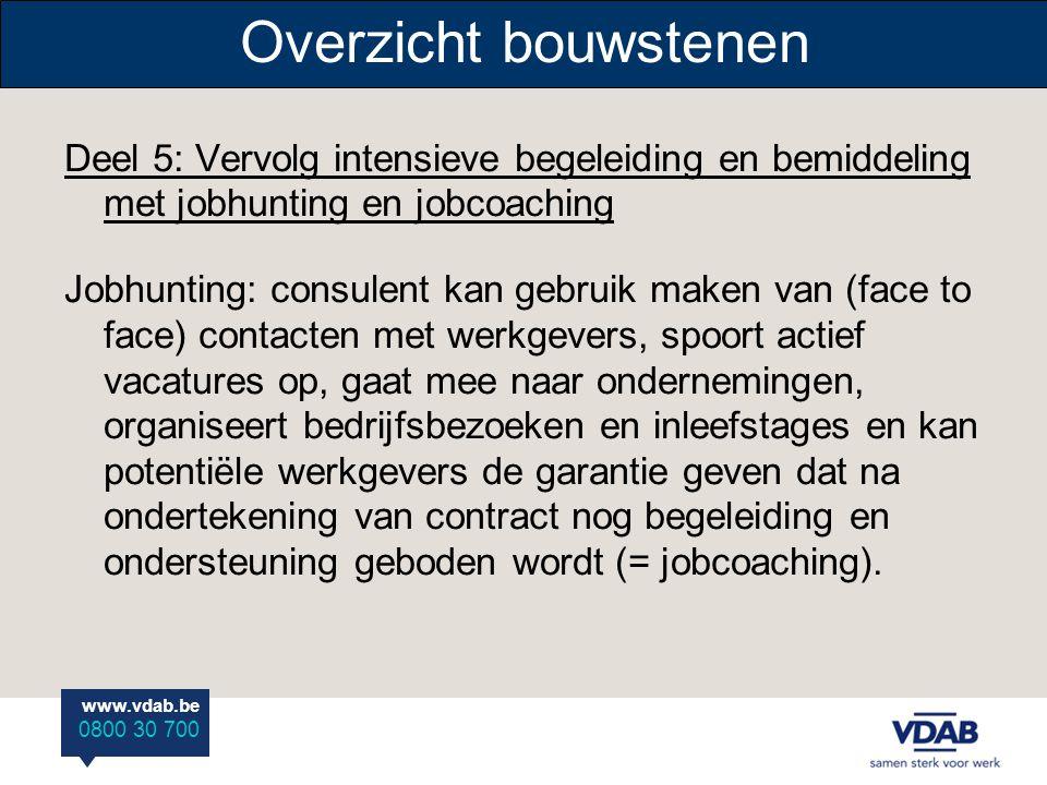 www.vdab.be 0800 30 700 Overzicht bouwstenen Deel 5: Vervolg intensieve begeleiding en bemiddeling met jobhunting en jobcoaching Jobhunting: consulent