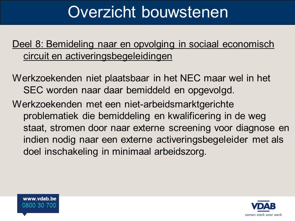 www.vdab.be 0800 30 700 Overzicht bouwstenen Deel 8: Bemideling naar en opvolging in sociaal economisch circuit en activeringsbegeleidingen Werkzoeken