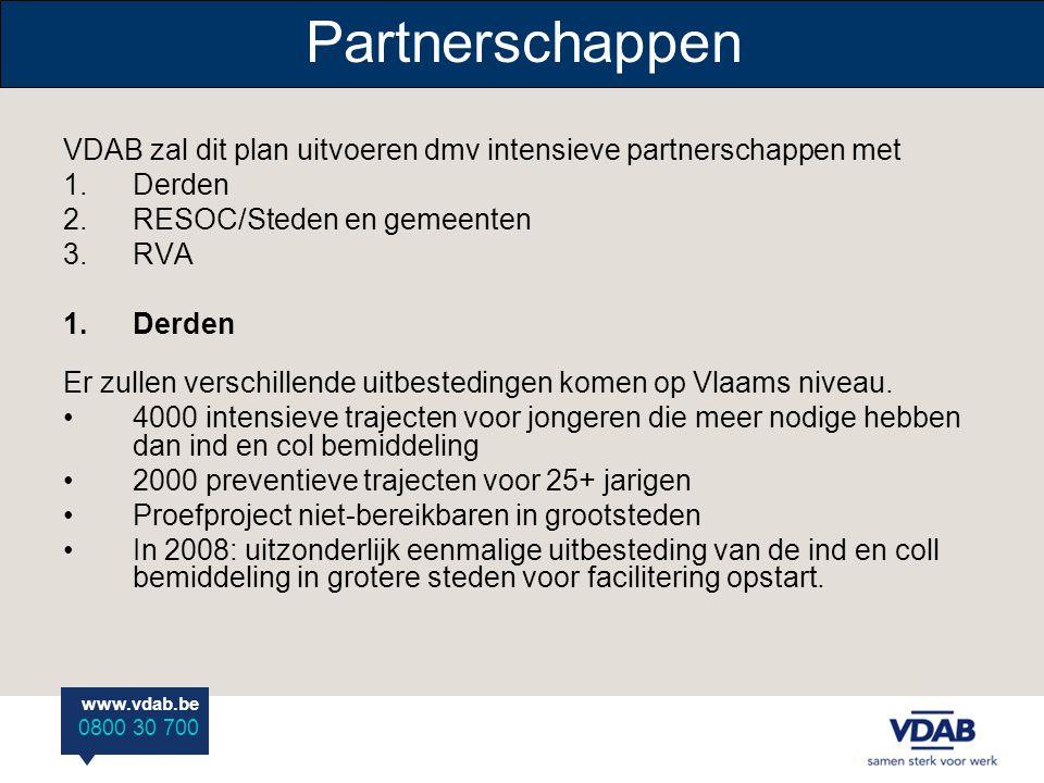 www.vdab.be 0800 30 700 Partnerschappen VDAB zal dit plan uitvoeren dmv intensieve partnerschappen met 1.Derden 2.RESOC/Steden en gemeenten 3.RVA 1.De