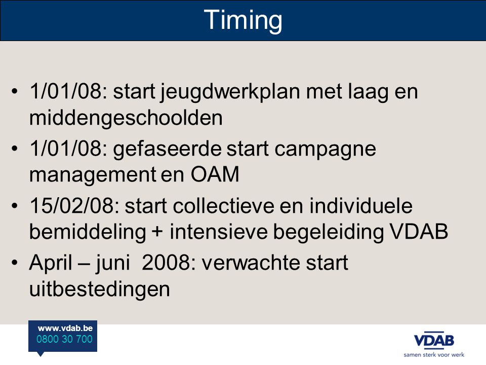 www.vdab.be 0800 30 700 Timing 1/01/08: start jeugdwerkplan met laag en middengeschoolden 1/01/08: gefaseerde start campagne management en OAM 15/02/0