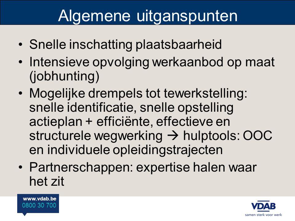 www.vdab.be 0800 30 700 Algemene uitganspunten Snelle inschatting plaatsbaarheid Intensieve opvolging werkaanbod op maat (jobhunting) Mogelijke drempe