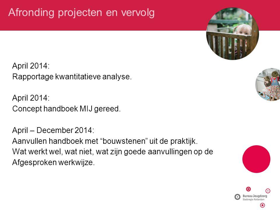 Afronding projecten en vervolg April 2014: Rapportage kwantitatieve analyse. April 2014: Concept handboek MIJ gereed. April – December 2014: Aanvullen
