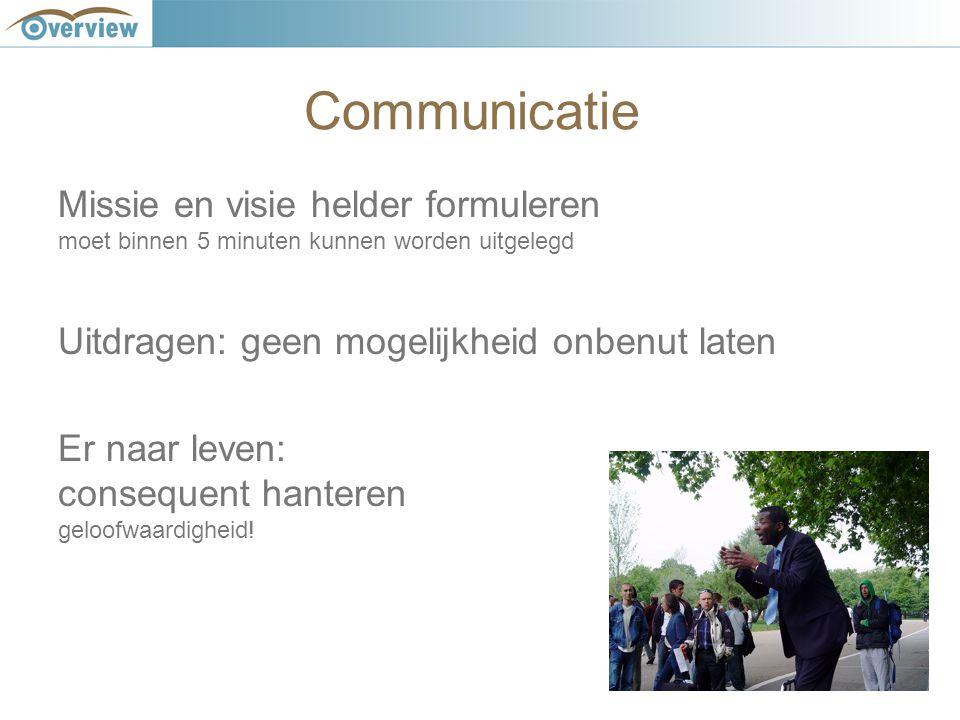 Communicatie Missie en visie helder formuleren moet binnen 5 minuten kunnen worden uitgelegd Uitdragen: geen mogelijkheid onbenut laten Er naar leven: consequent hanteren geloofwaardigheid!