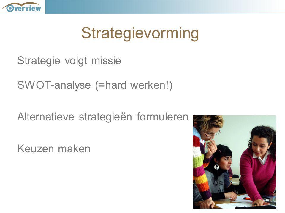 Strategievorming Strategie volgt missie SWOT-analyse (=hard werken!) Alternatieve strategieën formuleren Keuzen maken