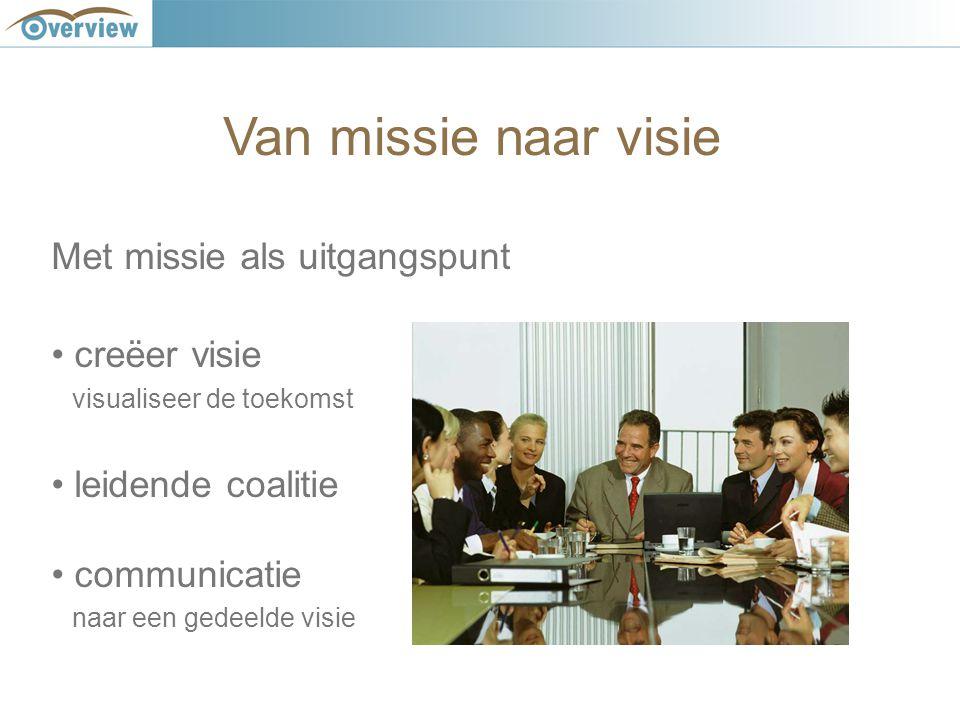 Van missie naar visie Met missie als uitgangspunt creëer visie visualiseer de toekomst leidende coalitie communicatie naar een gedeelde visie