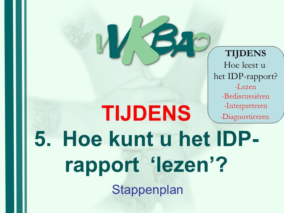 TIJDENS 5.Hoe kunt u het IDP- rapport 'lezen'? Stappenplan TIJDENS Hoe leest u het IDP-rapport? -Lezen -Bediscussiëren -Interpreteren -Diagnosticeren