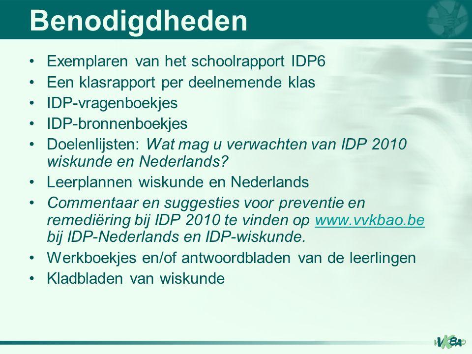 Benodigdheden Exemplaren van het schoolrapport IDP6 Een klasrapport per deelnemende klas IDP-vragenboekjes IDP-bronnenboekjes Doelenlijsten: Wat mag u