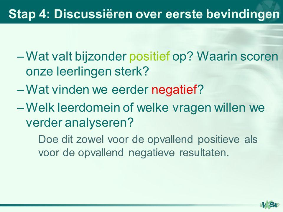 Stap 4: Discussiëren over eerste bevindingen –Wat valt bijzonder positief op? Waarin scoren onze leerlingen sterk? –Wat vinden we eerder negatief? –We