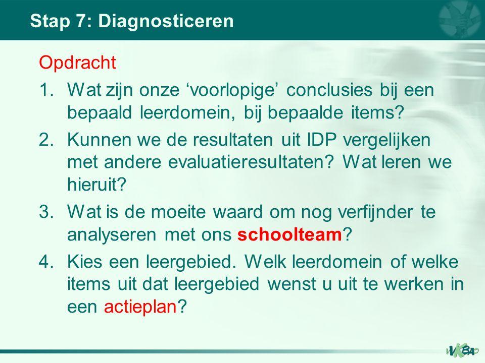 Stap 7: Diagnosticeren Opdracht 1.Wat zijn onze 'voorlopige' conclusies bij een bepaald leerdomein, bij bepaalde items? 2.Kunnen we de resultaten uit