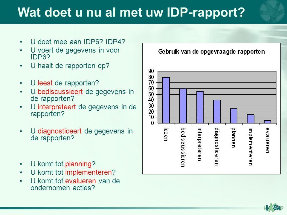 Wat doet u nu al met uw IDP-rapport? U doet mee aan IDP6? IDP4? U voert de gegevens in voor IDP6? U haalt de rapporten op? U leest de rapporten? U bed